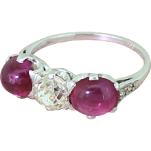 Art Deco Old Cut Diamond & Cabochon Ruby Trilogy Ring, circa 1940