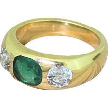 Victorian 0.67 Carat Emerald & 1.17 Carat Old Cut Diamond Trilogy Ring, circa 1900