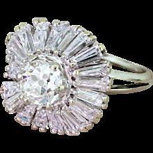 Late 20th Century 3.54 Carat Old Cut & Tapered Baguette Cut Diamond Ballerina Ring, circa 1970