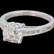 Mid Century 1.77 Carat Old Cut Diamond Engagement Ring, circa 1960