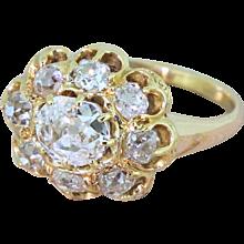 Victorian 1.55 Carat Old Cut Diamond Cluster Ring, circa 1900