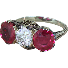 Art Deco 0.80 Carat Old Cut Diamond & Synthetic Ruby Trilogy Ring, circa 1930