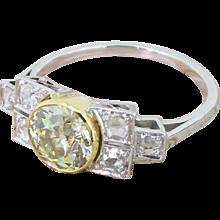 Art Deco 1.54 Carat Fancy Light Yellow Old Cut Diamond Ring, circa 1935