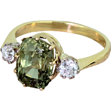Late 20th Century 3.97 Carat Natural Green Sapphire & Old Cut Diamond Ring, dated 1990