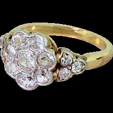 Edwardian 1.10 Carat Old Cut Diamond Cluster Ring, circa 1910
