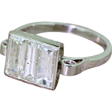 Art Deco 1.75 Carat Baguette Cut Diamond Trilogy Ring, circa 1925