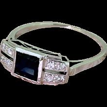Art Deco 0.75 Carat Sapphire & Diamond Ring, circa 1935