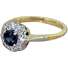 Mid Century Sapphire & Eight Cut Diamond Cluster Ring, circa 1950