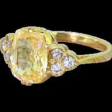 Mid Century 4.00 Carat Natural Yellow Sapphire & Diamond Ring, circa 1955