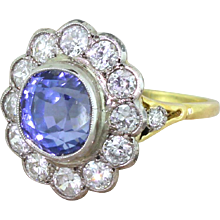 Art Deco 5.76 Natural Ceylon Sapphire & Old Cut Diamond Cluster Ring, circa 1925