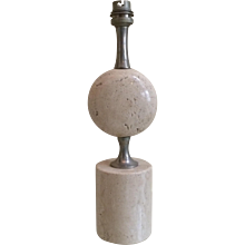 A Travertine Marble table Lamp By Maison barbier
