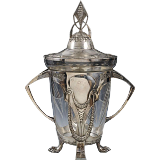 An Important   Plewkiewicz  Wmf  Secession Art Nouveau Silver Plated and Engraved Cristal Punch Bowl ,