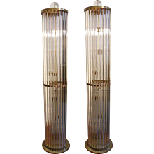 torcheres with clear murano cylindrical rods