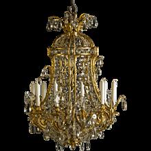 Napoleon III gilt bronze chandelier with crystal prisms