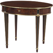 Baltic mahogany table with brass lists