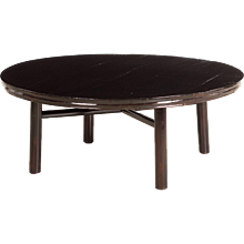 Round black lacquer coffee table, China 1840