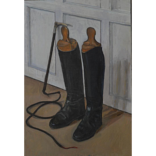 'Riding Boots ' by William Topley, oil on canvas