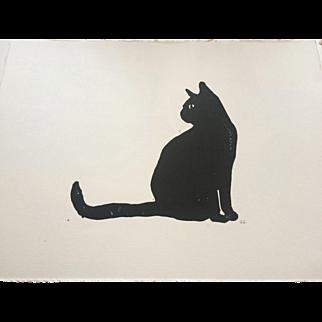 'Black Cat' Lino cut print, signed by artist at RAMSAY