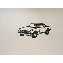 'Alfa Romeo Car' lino cut print signed by artist.