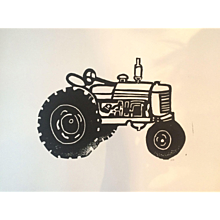 'Tractor' Lino cut print, signed by artist