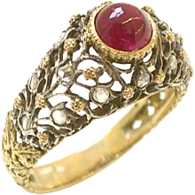 BUCCELLATI Gold and Diamond Ruby Ring circa 1960