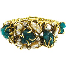 Pearl Emerald and Diamond Bracelet