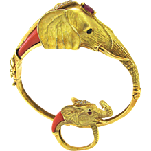 A Coral Gold Mama and Baby Elephant Suite