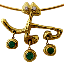 Masenza Roma Gold and Emerald Choker Attributed to Afro Basaldella circa 1955