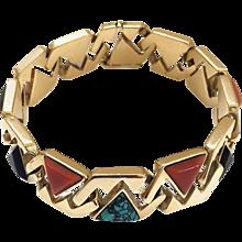Hardstone Reversible Link Bracelet c 1970