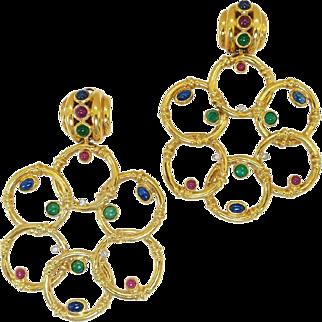 Massive Uno a Erre Italian Gemstone 1980s Earrings