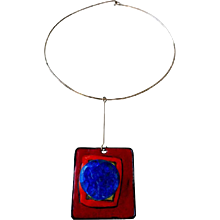 Pierre Cardin Silver Enamel and Glass Pendant Necklace, French, circa 1965
