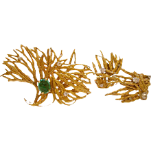 MARIANNE OSTIER Gold Emerald and Diamond Brooch/Ear Clips