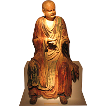 Wooden Life Size Figure of a Luohan