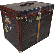 1920's Goyard Hat trunk  Chevrons Canvas