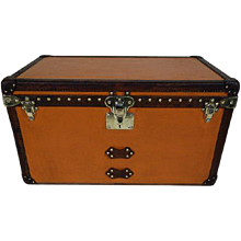 1930's Louis Vuitton Steamer  Trunk  in  Orange Vuitonitte