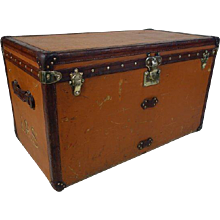1910's Orange Louis Vuitton Steamer Trunk/ Malle courrier Vuitonite orange