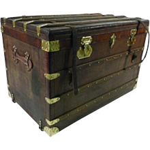 1920's Moynat Leather Steamer Trunk / Malle Cuir Moynat