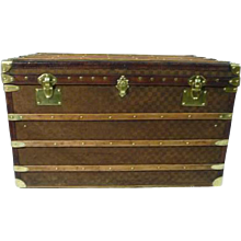 1930's Courrier Damier woven Steamer Trunk / Malle courier Damier