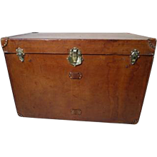 "Huge Leather trunk "" Au depart""  FRANCE / Malle courrier cuir"