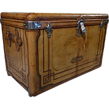 1890s Naturel Leather Trunk Courrier/Malle Cuir Courrier Haute