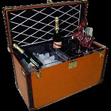 1920s Louis Vuitton Orange Champagne Trunk / Malle Champagne