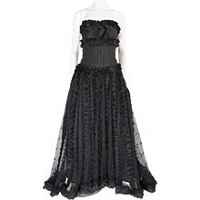 Chanel Haute Couture Runway Worn Black Point d'esprit Ballgown