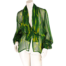 Givenchy Haute Couture Sheer Patterned Silk Chiffon Blouse