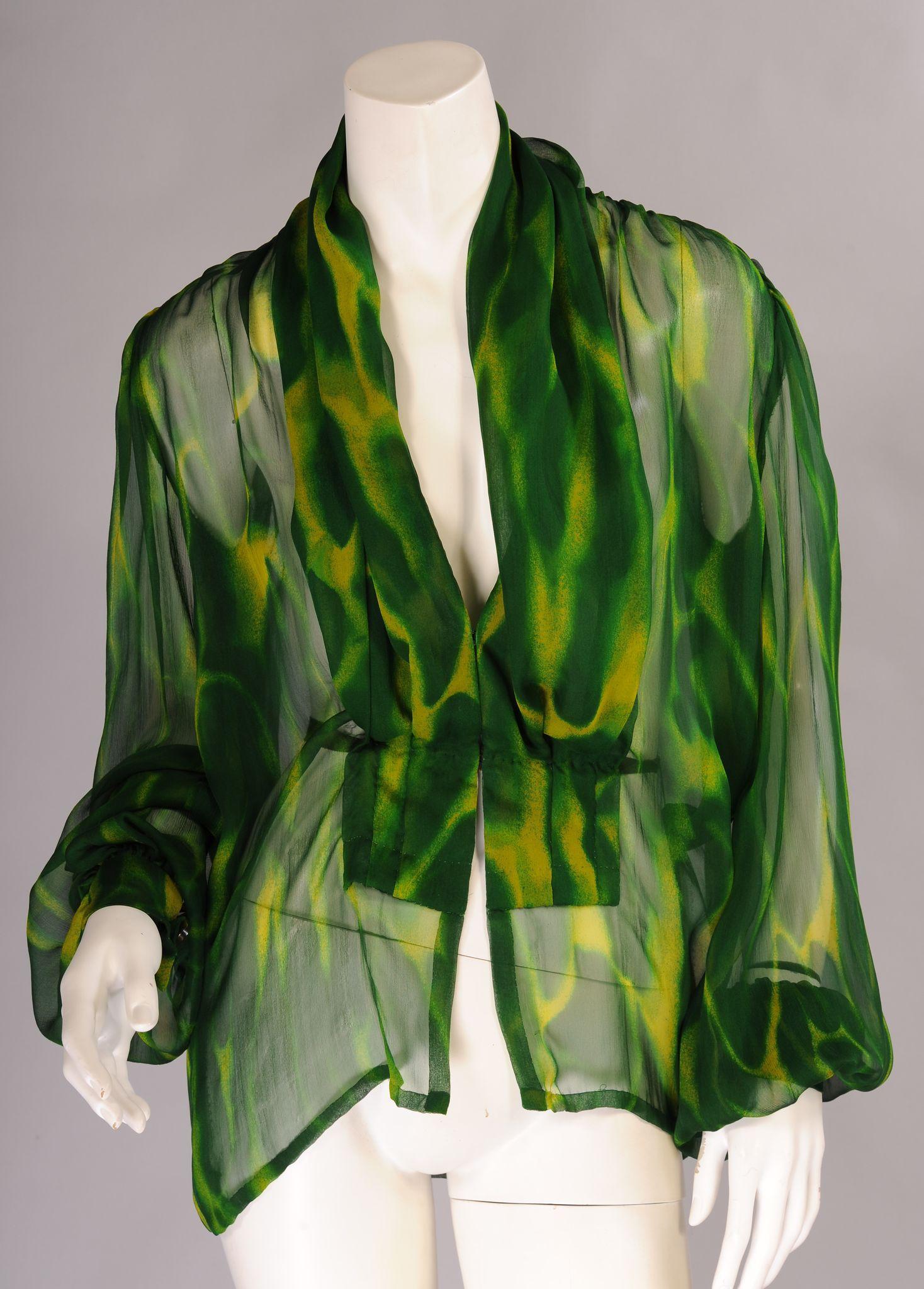 Green Silk Blouse Long Sleeve