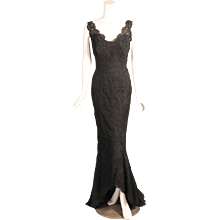 1950's Balenciaga Haute Couture Black Lace Evening Gown with Train