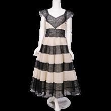 Jean Patou Haute Couture Black & Cream Lace Evening Dress