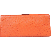 Tiffany & Co. Orange Ostrich Skin Clutch, Never Used