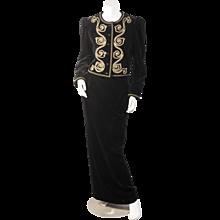 Yves Saint Laurent Black Velvet Suit with Gold Soutavche Braid