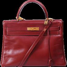 Hermes Vintage Burgundy Kelly Bag 35cm
