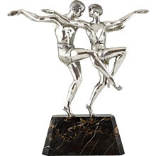 French Art Deco silvered bronze sculpture of a dancing couple by Pierre Le Faguays 1930